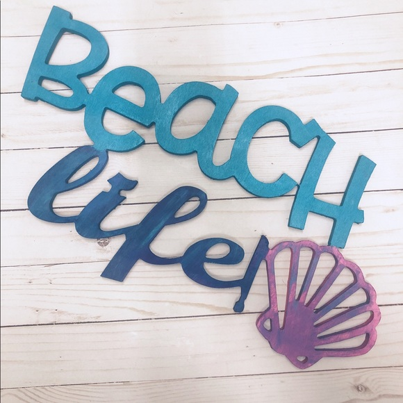 Other - Beach Life Mermaid Painted Wooden Wall Decor